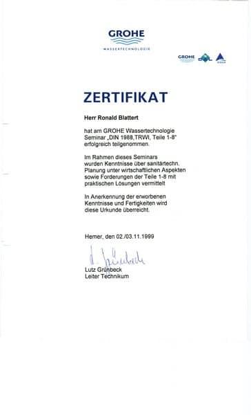 1999-11-03 GROHE Wassertechniligie Seminar DIN 1988 TRWI Teile 1-8 (Kopie)