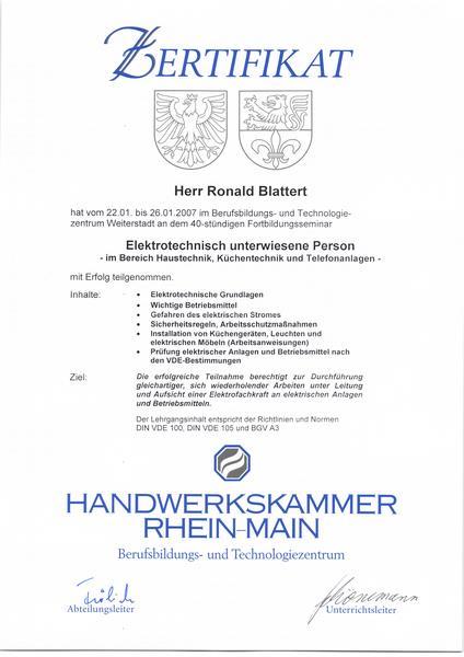 2007-01-25 Elektrotechnisch unterwiesene Person - im Bereich Haustechnik, Küchentechnik und Telefonanlagen (Kopie)