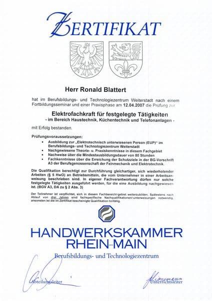 2007-04-12 Elekrofachkraft für festgelegte Tätigkeiten - im Bereisch Haustechnik, Küchentechnik und Telefonanlagen (Kopie)