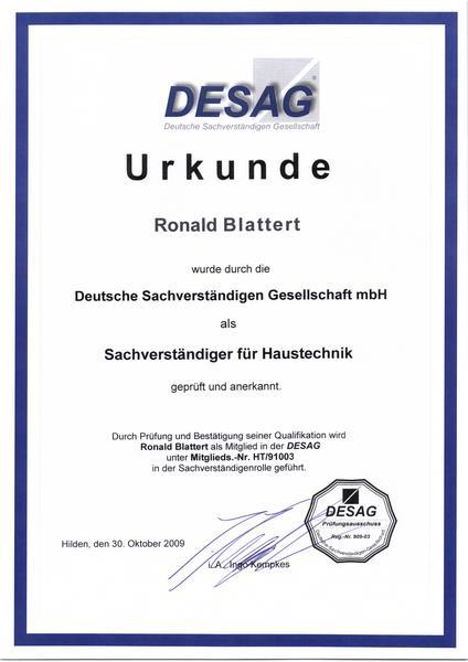 2009-10-30 Deutsche Sachverständigen Gesellschaft als Sachverständuger für Haustechnik (Kopie)