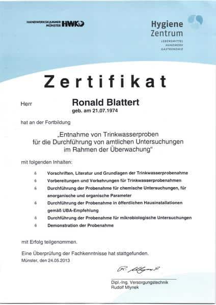 2013-05-24 Entnahme von Trinkwasserproben für die Durchführung von amtlichen Untersuchungen im Rahmen der Überwachung (Kopie)