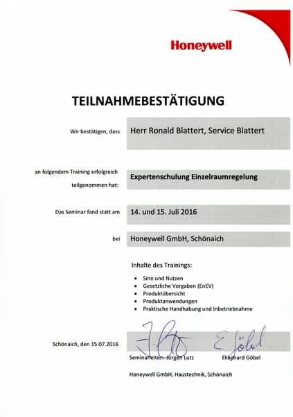 2016-07-14-15 Honeywell Expertenschulung Einzelraumregelung - Blattert, Ronald (Kopie)