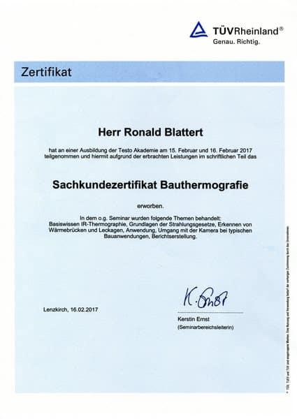 2017-02-26 Sachkundezertifikat Bauthermografie - Ronald Blattert (Kopie)