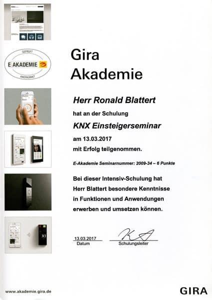2017-03-13 GIRA - KNX Einsteigerseminar - Ronald Blattert (Kopie)