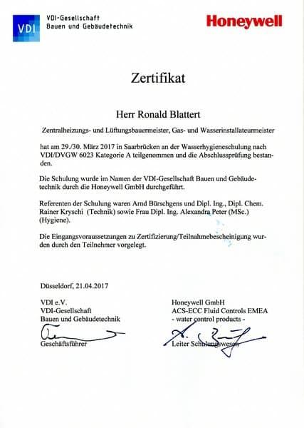 2017-03-28 VDI-DVGW 6023 Kategorie A - Wasserhygiene - Ronald Blattert (Kopie)