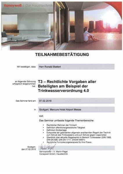 2018-02-07 Honeywell - T3 - Rechtliche Vorgaben aller Beteiligten am Beispiel der Trinkwasserverordnung - Blattert, Ronald (Kopie)