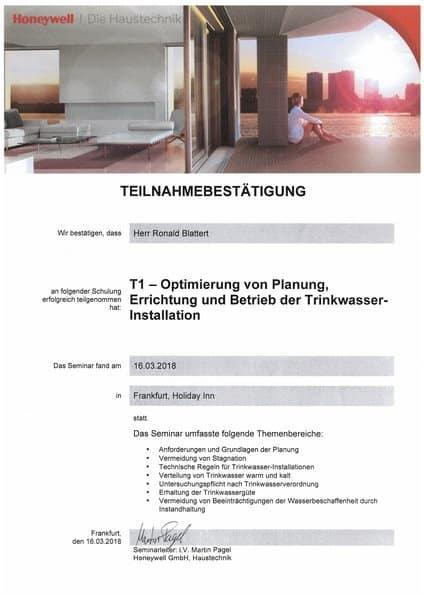2018-03-16 Honeywell - T1 - Optimierung von Planung, Errichtung und Betrieb der Trinkwasserinstallation - Blattert, Ronald (Kopie)