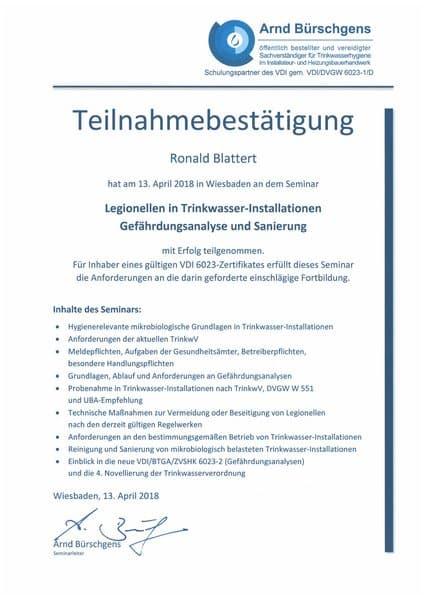 2018-04-13 Bürschgens - Legionellen in Trinkwasser-Installationen - Gefährdungsanalyse und Sanierung - Blattert, Ronald (Kopie)