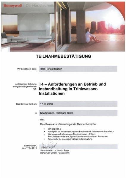 2018-04-17 Honeywell - T4 - Anforderungen an Betrieb und Instandhaltung in Trinkwasser-Installationen - Blattert, Ronald (Kopie)