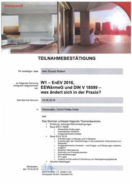 2018-05-16 Honeywell - W1 - EnEV 2016, EEWärmeG und DIN V 18599 - Blattert, Ronald (Kopie)