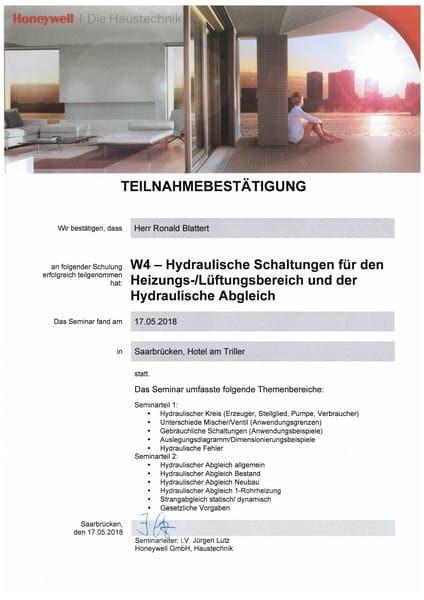 2018-05-17 Honeywell - W4 - Hydraulische Schaltungen für den Heizungs- & Lüftungsbereich und der hydraulische Abgleich - Blattert, Ronald (Kopie)