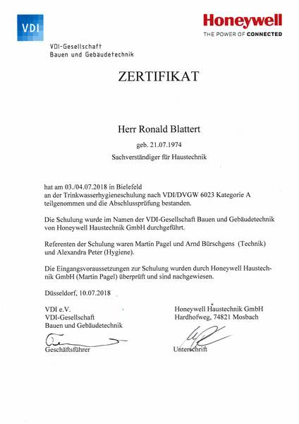 2018-07-03 HONEYWELL - Trinkwasserhygiene VDI-DVGW 6023 Kategorie A - Blattert, Ronald (Kopie)