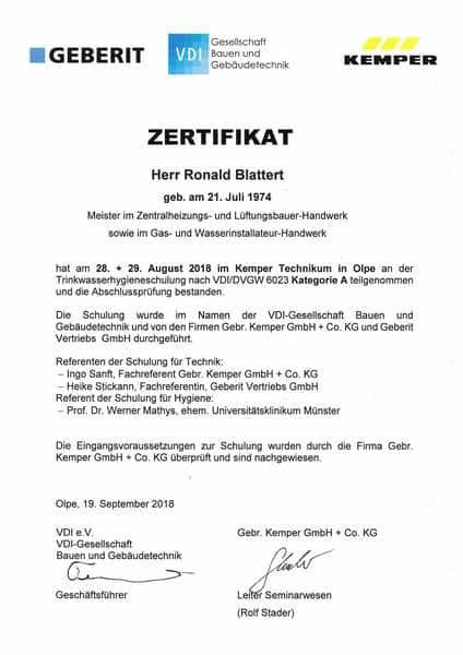 2018-08-28 KEMPER, GEBERIT - Trinkwasserhygiene VDI-DVGW 6023 Kategorie A - Blattert, Ronald (Kopie)