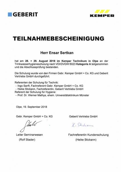 2018-08-28 KEMPER, GEBERIT - Trinkwasserhygiene VDI-DVGW 6023 Kategorie A - Sertkan, Ensar (Kopie)