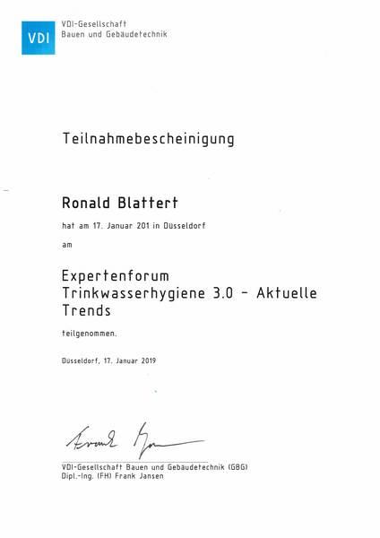 2019-01-17 VDI - Expertenforum Trinkwasserhygiene 3.0 - Aktuelle Trends - Blattert, Ronald (Kopie)