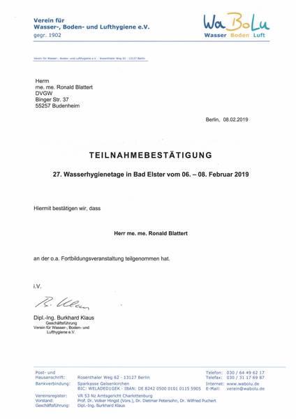 2019-02-06 WABULU - Wasserhygienetage - Blattert, Ronald (Kopie)