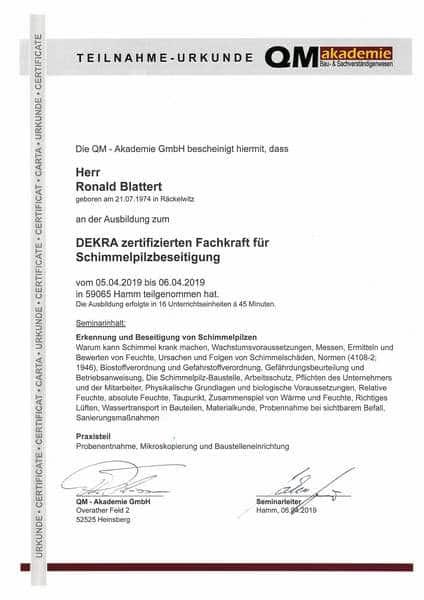 2019-04-05 QM Akademie - DEKRA Fachkraft für Schimmelpilzbeseitigung - Blattert, Ronald (Kopie)